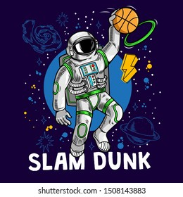 Engraving cool dude in space suit super astronaut play basketball and make slam dunk between stars planets galaxies. Cartoon comics pop art for print design t-shirt apparel tee poster for children.