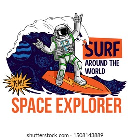 Engraving cool dude in space suit surfer astronaut spaceman catch the cosmic wave on space surfboard surfing between stars planets galaxies Cartoon comics pop art for print design t shirt apparel