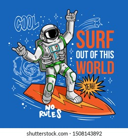 Engraving cool dude in space suit surfer astronaut spaceman catch the space wave on surfboard, surfing between stars planets galaxies. Cartoon comics cosmic pop art for print design t shirt apparel.