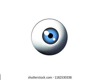 Engraving drawing human eyeball illustration isolated on white background