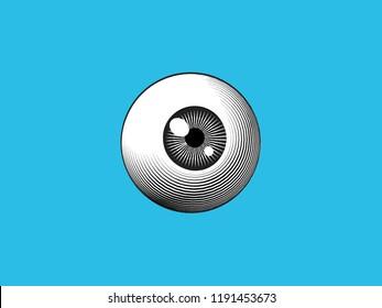 Engraving drawing human eyeball illustration isolated on blue turquoise background