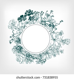 engraving flower background wedding card birthday circle