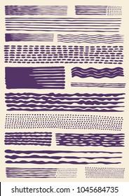 Engraving halftone brushes set. vector illustration
