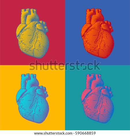 Engraving human heart illustration in pop art colorful four style