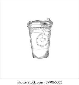 Engraving illustration of takeaway coffee cup isolated on white background