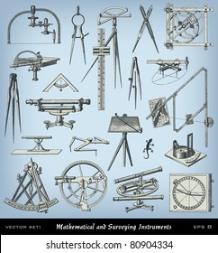 """Engraving mathematical and surveying instrument set from """"The Complete encyclopedia of illustrations"""" containing the illustrations of The iconographic encyclopedia of science and art, 1851. Vector."""