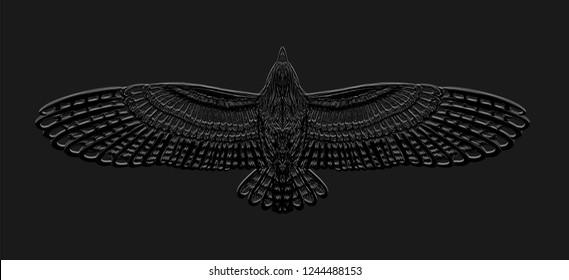 Engraving owl on the black background. Dark backdrop. Flying bird. Skech print for t shirt.