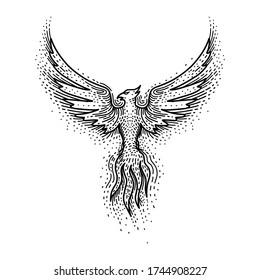 Engraving phoenix. Black and white vector illustration.
