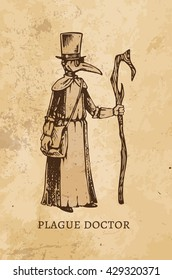 engraving - Plague Doctor. isolated vector vintage. old paper. Middle Ages, scrapbooking