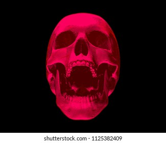 Engraving red skull illustration scream on black background