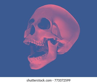 Engraving red skull illustration screaming on dark blue background