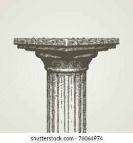 Engraving retro column vectror illustration. Eps 10.