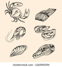 Engraving with sea foods