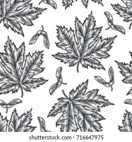 Engraving seamless pattern of maple leaves and seeds. Vintage botany decor. Illustration for textiles, gift packaging, paper, interior design, cover, wallpaper, curtains.