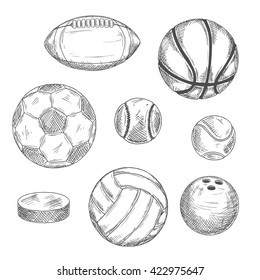 Engraving sketches of sporting balls and ice hockey puck for sports competition or activity design with football and soccer, basketball and baseball, rugby and volleyball, tennis and bowling balls