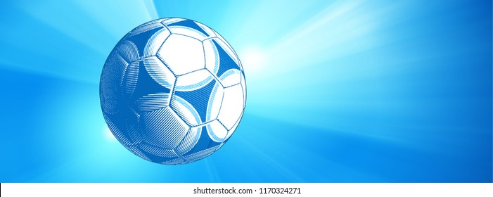 Engraving soccer ball or football impact illustration isolated on colorful blue shine vector banner background with blank space for text