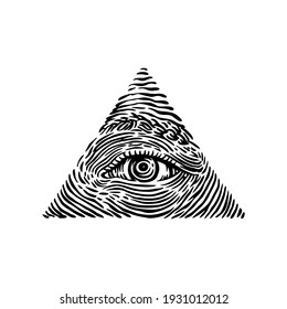 engraving style all seeing eyes pyramid, hand drawn vector illustration, for your t-shirt, sticker, design element, tattoo, etc.