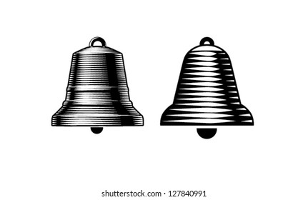 Engraving style bells. vector