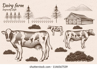 Engraving style dairy cattle and farmland design element
