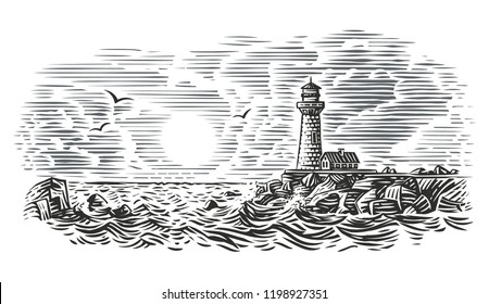 Engraving style illustration of beacon. Vector.