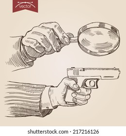 Engraving style pen pencil crosshatch hatching paper painting retro vintage vector lineart illustration private detective concept. Hands holding magnifier and gun. Engrave design big collection