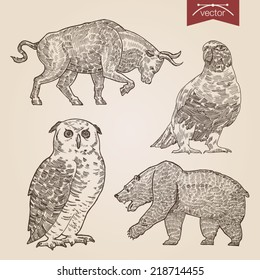 Engraving style pen pencil crosshatch hatching paper painting retro vintage vector lineart illustration wild animals and birds set. Bull and bear stock exchange finance concept, owl and dove.