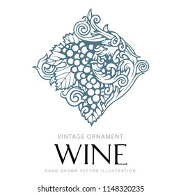 Engraving styled, hand drawn grape and vine ornament. Grape and vine.  Hand written word 'wine' with vine elements. Letters connected with vine elements. Illustration of the wine theme.