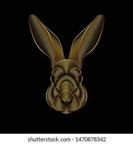 Engraving of stylized golden rabbit portrait on black background. Line art. Stencil art
