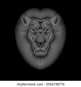 Engraving of stylized lion on black background. Linear drawing.
