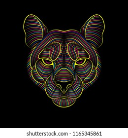 Engraving of stylized psychedelic puma on black background. Linear drawing. Portrait of a puma. Psychedelic.
