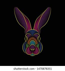 Engraving of stylized psychedelic rabbit portrait on black background. Line art. Stencil art