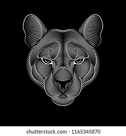 Engraving of stylized puma on black background. Linear drawing. Portrait of a puma.