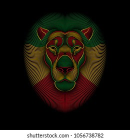 Engraving Of Stylized Rasta Lion On Black Background Linear Drawing