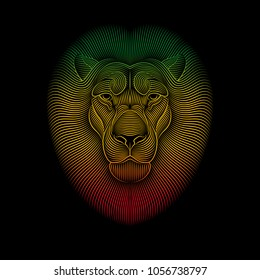 Engraving of stylized rasta lion on black background. Linear drawing.