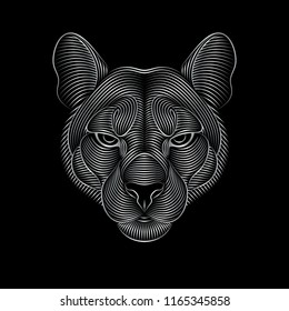 Engraving of stylized silver puma on black background. Linear drawing. Portrait of a puma.
