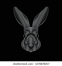 Engraving of stylized silver rabbit portrait on black background. Line art. Stencil art