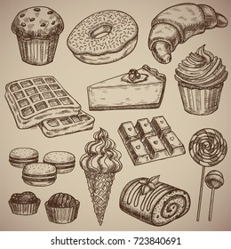 Engraving a sweet set: muffin, donut, croissant, waffles, cheesecake, capcake, macaroons, chocolate bar, two chocolate sweets, ice cream in a waffle cup, a chocolate roll and two candies on a stick.