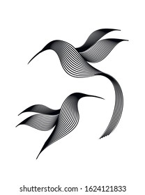 Engraving of two birds on a white background. Hand drawing vector illustration. Design for vintage packaging.