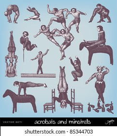 """Engraving vintage acrobats from """"The Complete encyclopedia of illustrations"""" containing the original illustrations of The iconographic encyclopedia of science, literature and art, 1851."""