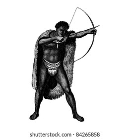 """Engraving vintage African man from """"The Complete encyclopedia of illustrations"""" containing the illustrations of The iconographic encyclopedia of science, literature and art, 1851. Vector."""