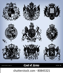 """Engraving vintage coat of arms set from """"The Complete encyclopedia of illustrations"""" containing the illustrations of The iconographic encyclopedia of science, literature and art, 1851. Vector."""