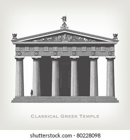 "Engraving vintage greek temple from ""The Complete encyclopedia of illustrations"" containing the original illustrations of The iconographic encyclopedia of science, literature and art, 1851. Vector."