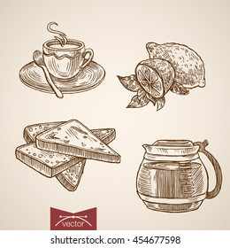 Engraving vintage hand drawn vector cup of hot drink and toast collection. Pencil Sketch coffee, lemon, tea breakfast illustration.