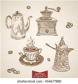 Engraving vintage hand drawn vector coffee time collection. Pencil Sketch mill, Turk, hot drink illustration.