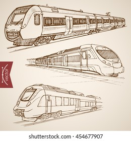 Engraving vintage hand drawn vector modern high speed train collection. Pencil Sketch railway transport illustration.