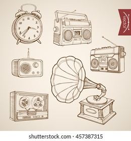 Engraving vintage hand drawn vector music and sound retro equipment collection. Pencil Sketch Gramophone, Tape recorder, Radio, Clock illustration.