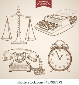 Engraving vintage hand drawn vector Law and Justice collection. Pencil Sketch Judge trial Libra, Phone, Clock, Typewriter illustration.