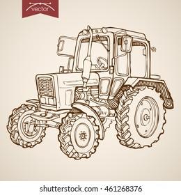 Engraving vintage hand drawn vector tractor image. Pencil Sketch Farm Machinery illustration.