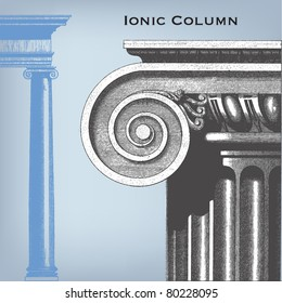 """Engraving vintage ionic column from """"The Complete encyclopedia of illustrations"""" containing the original illustrations of The iconographic encyclopedia of science, literature and art, 1851. Vector."""
