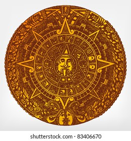 """Engraving vintage Maya calendar from """"The Complete encyclopedia of illustrations"""" containing the original illustrations of The iconographic encyclopedia of science, literature and art, 1851. Vector."""